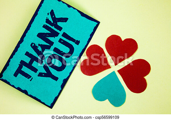 Word writing text Thank You Motivational Call. Business concept for Appreciation greeting Acknowledgment Gratitude written on Sticky Note paper on plain background Paper Love Hearts next to it. - csp56599109