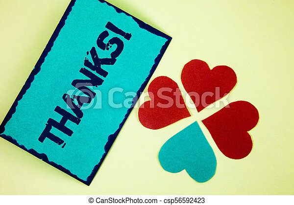 Word writing text Thanks Motivational Call. Business concept for Appreciation greeting Acknowledgment Gratitude written on Sticky Note paper on plain background Paper Love Hearts next to it. - csp56592423