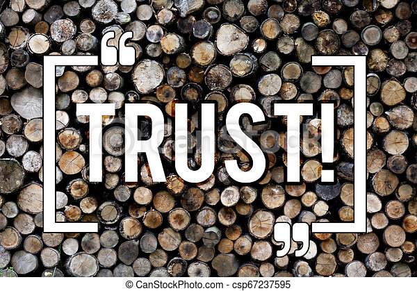 Word writing text Trust. Business concept for Belief in the Reliability Truth Ability Confidence Wooden background vintage wood wild message ideas intentions thoughts. - csp67237595