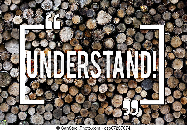Word writing text Understand. Business concept for Know Perceive the meaning of something Wooden background vintage wood wild message ideas intentions thoughts. - csp67237674
