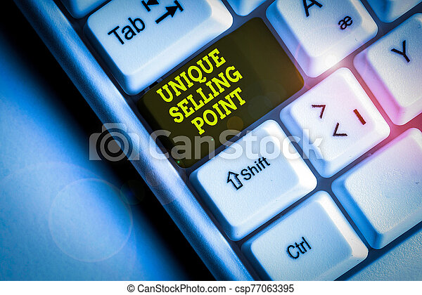 Word writing text Unique Selling Point. Business concept for Differentiate a Product Specific Features and Benefits White pc keyboard with empty note paper above white background key copy space. - csp77063395
