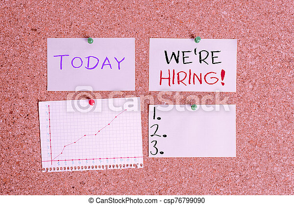 Word writing text We Re Hiring. Business concept for recently employ someone or pay someone to do particular job Corkboard color size paper pin thumbtack tack sheet billboard notice board. - csp76799090