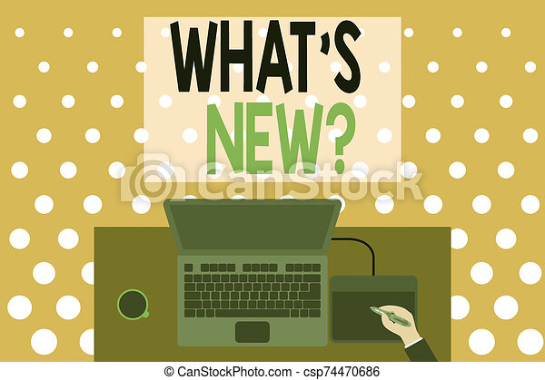 Word writing text What S New Question. Business concept for when you ask someone about his current live events actions Upper view laptop wooden desk worker drawing tablet coffee cup office. - csp74470686