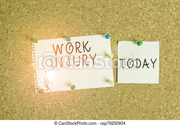 Word writing text Work Injury. Business concept for illness caused by events or exposures in the work environment Corkboard color size paper pin thumbtack tack sheet billboard notice board. - csp79250934