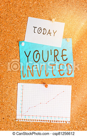 Word writing text You Re Invited. Business concept for make a polite friendly request to someone go somewhere Corkboard color size paper pin thumbtack tack sheet billboard notice board. - csp81256612