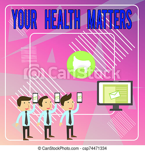 Word writing text Your Health Matters. Business concept for good health is most important among other things SMS Email Marketing Media Audience Attraction Personal Computer Loudspeaker. - csp74471334