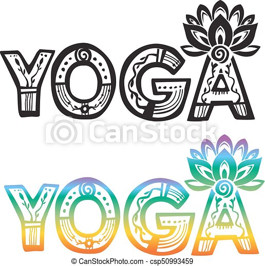 Word Yoga With Lotus Flower Silhouette