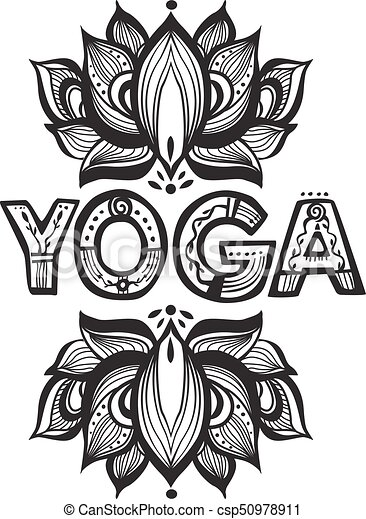 Word Yoga With Lotus Flower Silhouette Word Yoga With Vector Lotus