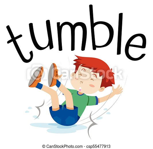 wordcard for tumble with boy tumbling illustration vector clip art rh canstockphoto com  cheerleading tumbling clipart