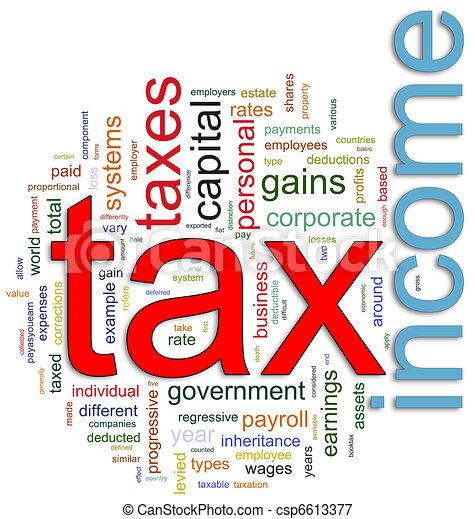 wordcloud, belasten inkomen - csp6613377