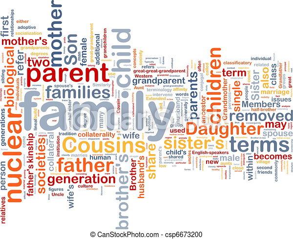 wordcloud, concetto, fondo, illustrazione, famiglia - csp6673200