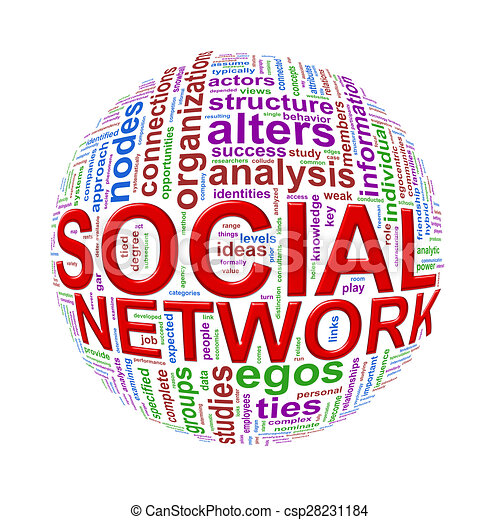 Wordcloud word tags ball of social network - csp28231184