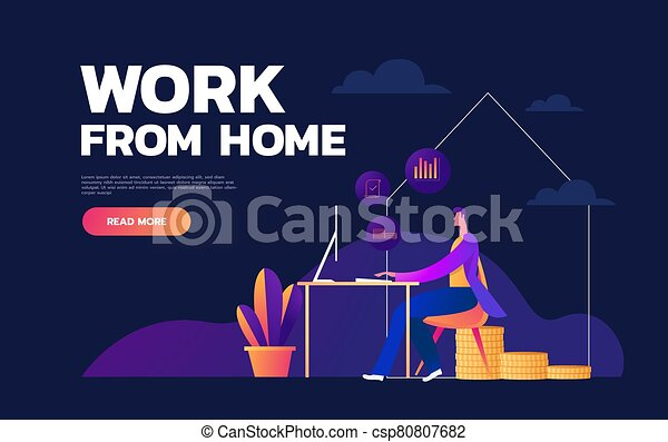 Work at home during an outbreak of the COVID-19 virus. People work at home in quarantine to prevent a viral infection. Man works on laptop at home. Vector illustration flat style - csp80807682