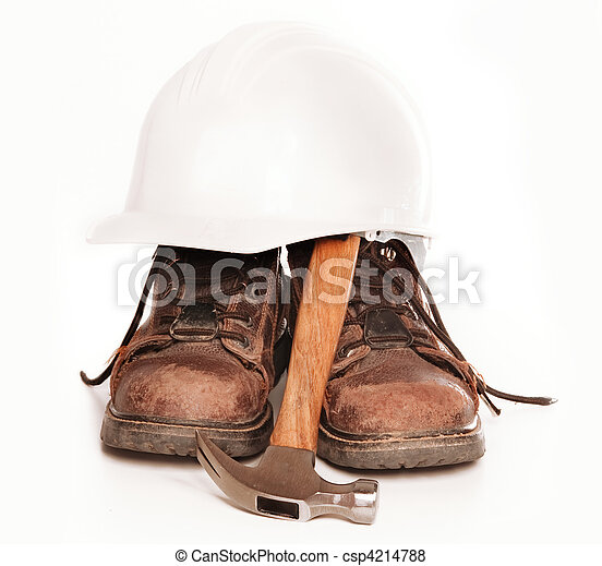 Work boots,hard hat and hammer - csp4214788
