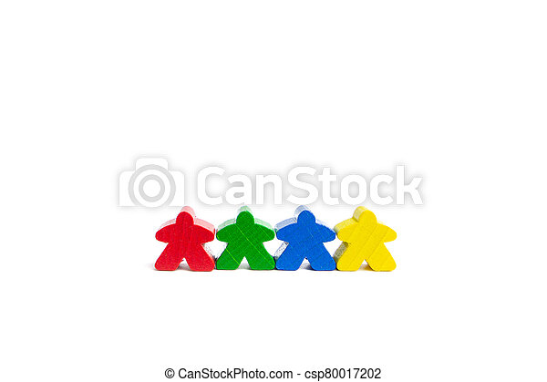 Work in a team concept. Four best friends. Colourful game figures are isolated on a white background. - csp80017202