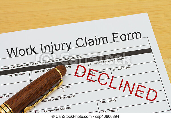 Work Injury Claim Form Declined Work Injury Claim Form With