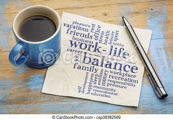 work life balance word cloud - csp38382569