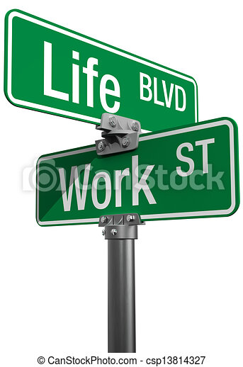Work or Life decision street signs - csp13814327