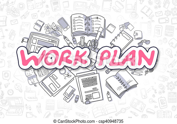 Work Plan  Cartoon Magenta Word Business Concept Cartoon