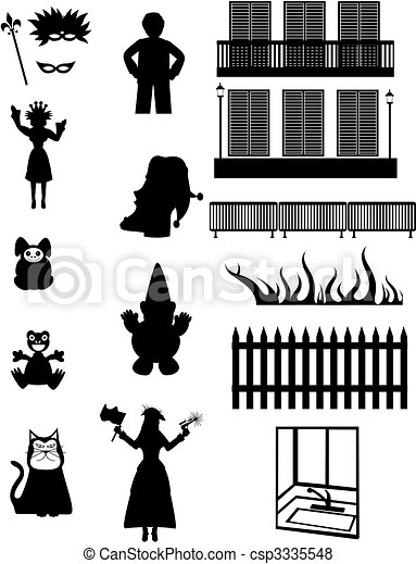 work pleasure fantasy vector silhouettes set of celebration rh canstockphoto com New Orleans City Clip Art New Orleans Clip Art Drawings