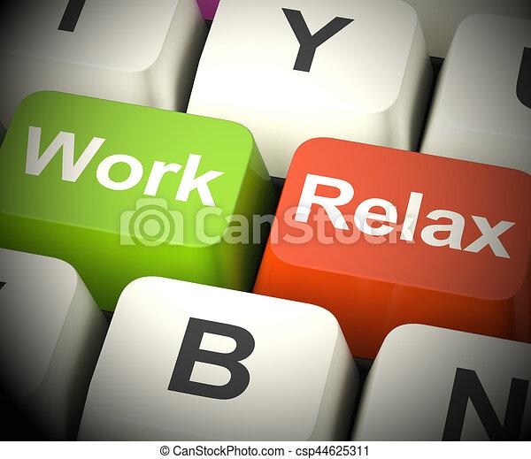 work relax keys showing take a break 3d rendering work. Black Bedroom Furniture Sets. Home Design Ideas