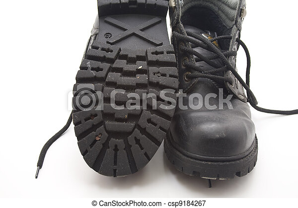 Work shoes with thick sole on white