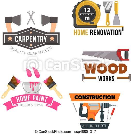Work Tool And Hardware Cartoon Symbol Set