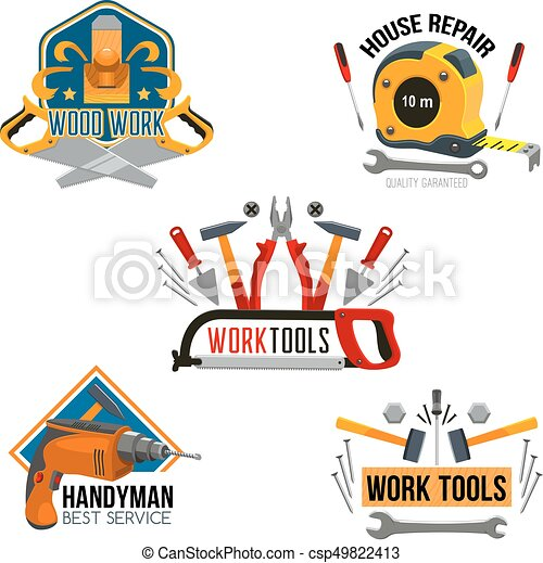 Work Tool For House Repair Isolated Symbol Set