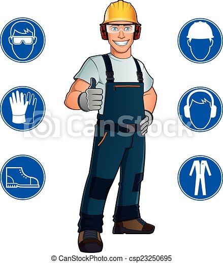 Worker And Signs Man Dressed In Work Clothes And Safety