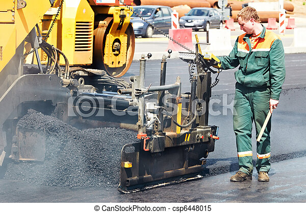 worker at asphalting works - csp6448015