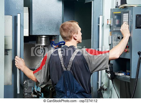worker at machining tool workshop - csp7274112