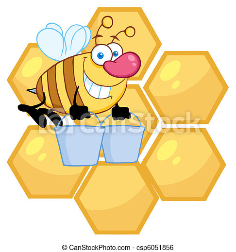 Worker Bee Carrying Two Buckets - csp6051856
