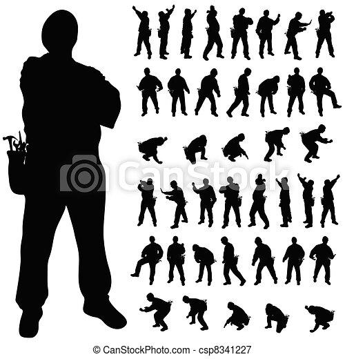 worker black silhouette in various poses - csp8341227