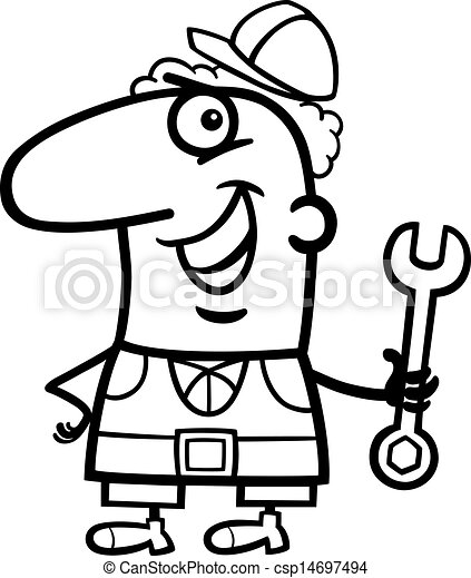 worker cartoon coloring page - csp14697494