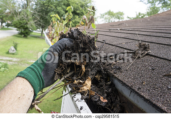 Worker Cleaning Gutters For A Customer - csp29581515