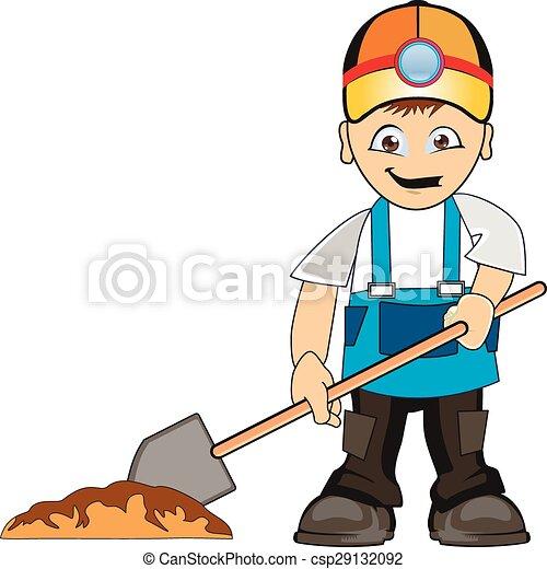 worker digs pit building man shovel wearing helmet and dig eps rh canstockphoto com man digging clipart farmer digging clipart