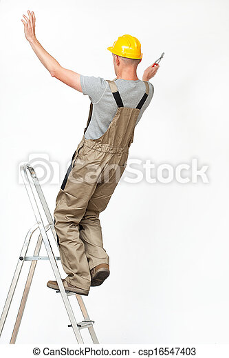 Worker falling from ladder - csp16547403