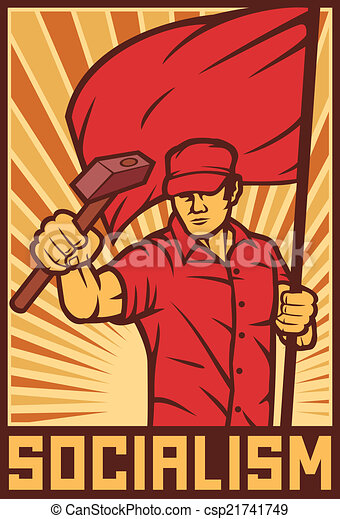 worker holding flag and hammer - csp21741749