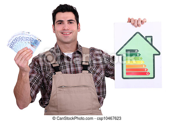 Worker holding money and an energy efficiency rating chart - csp10467623