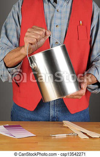 Worker Holding Paint Can - csp13542271