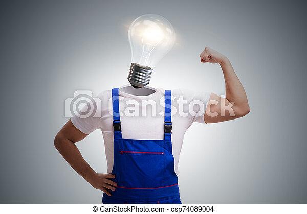 Worker in bright idea concept - csp74089004