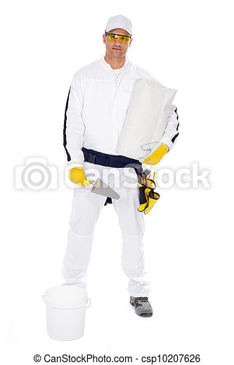 worker in white overalls holding a bucket trowel tools package on white background - csp10207626