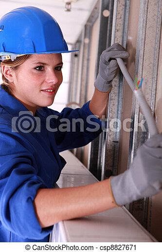 worker installing electrical wiring rh canstockphoto com