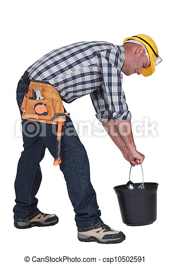 Worker lifting plastic bucket - csp10502591