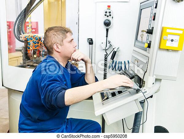 worker operating CNC machine center - csp5950208