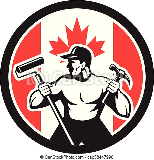 worker paintroller hammer CIRC-CAN-FLAG-ICON - csp58447990