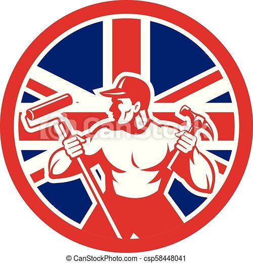 worker paintroller hammer CIRC-UK-FLAG-ICON - csp58448041