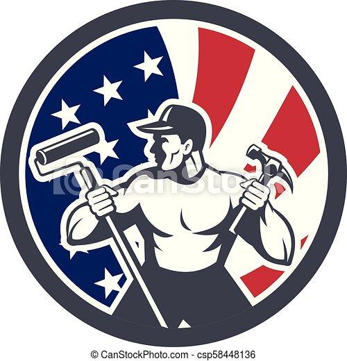worker paintroller hammer CIRC-USA-FLAG-ICON - csp58448136
