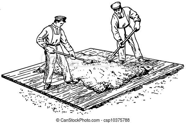 Worker preparing concrete - csp10375788