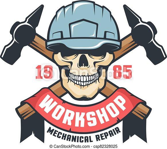 Worker skull in helmet vintage logo - csp82328025